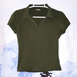Short Sleeve Olive Green V Neck T-Shirt Top Sz S
